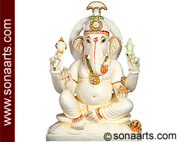 White Marble Ganesh Statue From Jaipur Msgn294