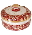 Marble Round box with emboss kundan painting