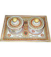 Marble Tray Set with Jewelry kundan painting