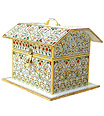 Marble Box in Hut Shape with emboss painting work