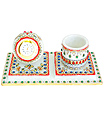 Marble clock with pan stand using kundan painting
