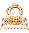 Marble Chokhi Clock with kundan and emboss painting