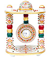 Marble clock in temple shape with painting