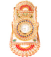 Mobile stand clock using kundan and emboss painting