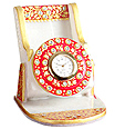 Colorful painted marble mobile stand with clock
