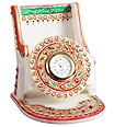 Meenakari painting marble mobile stand with clock
