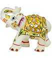 Stone elephant statue with kundan painting work