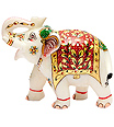Indian elephant statues carved from white marble