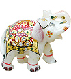White Makarana Marble elephant with painting