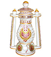 Marble Lantern carved in marble with jewelry painting