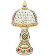 Marble Hand carved lamp using Meenakari painting