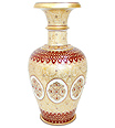 Marble flower vase with real gold foil painting
