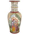 Exquisite Radha Krishna Painting on Vase