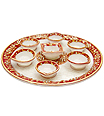 Beautiful marble deyas thali carved from marble