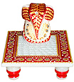 Chowki Ganesh from white marble