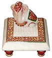 Marble chowki ganesh with emboss painting
