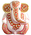 A Unique Marble ganesh with kundan painting work