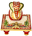 Ganesh gift items using kundan painting