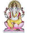 Marble Ganesh  statue seated on lotus flower