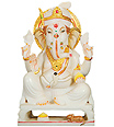 Marble Ganesh Murti from White Marble stone