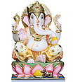 Ganesh Statue from Marble with painting