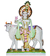 Marble Krishna Statue with Cow Carved out in Marble