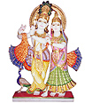 Lord Radha Krishna Murti with painting