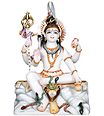 Marble lord shankar statue with painting
