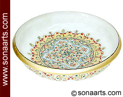 Marble Bowl with designer hand painting work