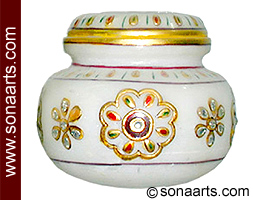 Small Marble Box with kundan painting work