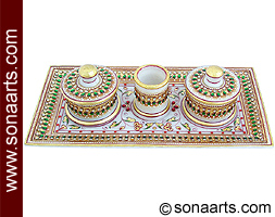 Marble tray set with toothpick using painting