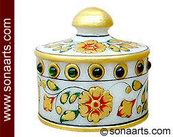 Small Marble Box with leaf and flower Painting work