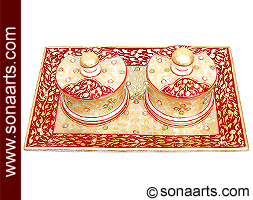Marble Tray Set using Red Shade painting work