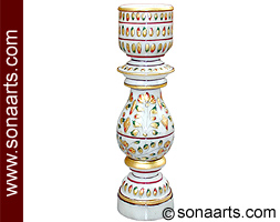 Marble Candle stand with leaf and flower painting