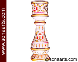 Marble Candle stand with meenakari painting