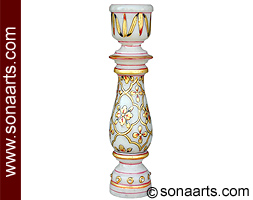 Marble Candle holder with emboss painting