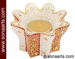 Marble tealight holder with beautiful painting