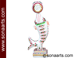 Marble Fish Clock with kundan hand painting