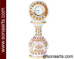 Marble Decorative Clock with emboss painting