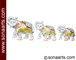 Marble elephants set with hand painting