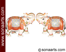 Unique Hand carved Marble Elephants with painting