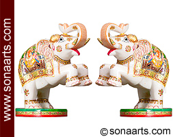 Marble welcome elephant with painting work