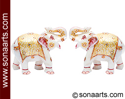 Decorative elephant statues carved From white marble