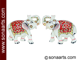 Marble elephant using Red Shade painting work