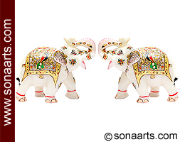 Marble elephants statues with Painting work