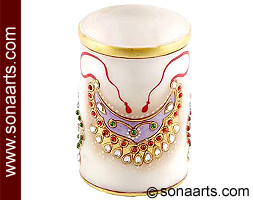 Marble Pen stand with jewelry painting