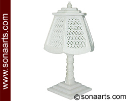 White marble Lamp with hand Net carving work