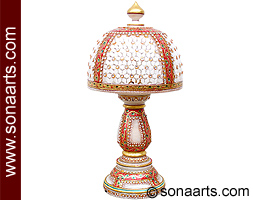Decorative lamps with red meenakari painting work