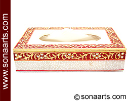 Marble tissue box with beautiful painting
