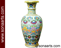 Carved Vase with embossed painting work